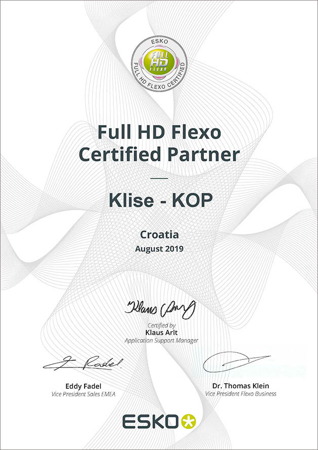 Esko full HD Flexo Certified partner Kliše-kop