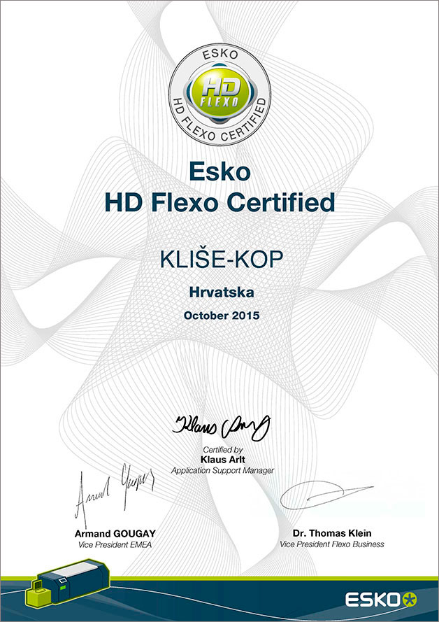Esko HD Flexo Certified Kliše-kop